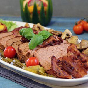Leverpostei med bacon og ristet sjampinjong